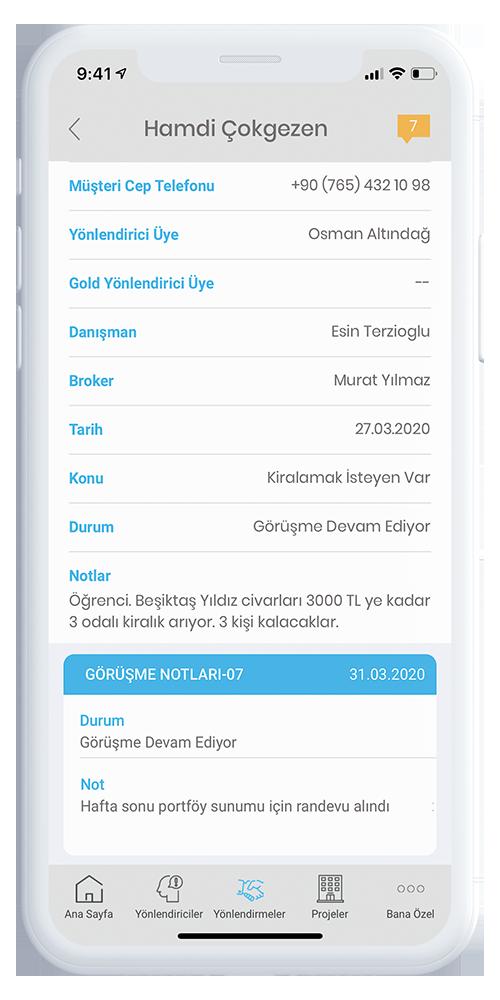 Mobil Broker Yönlendirme Detay Ekranı
